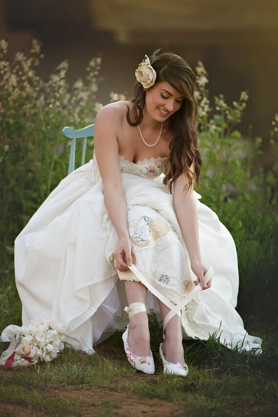 Vintage Embroidered Bridal Wedding Shoes Storybook Romance