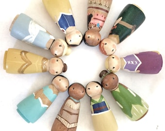 "Disney Princess Peg Dolls (6) 2""/  busy bag toy / quiet toys for kids / Toys for Quiet Time / wooden dolls for dollhouse / Busy Bag Toddler"