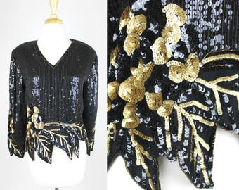 Vintage Sequin Blouse Black Gold Long Sleeve Medium