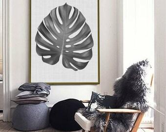 Palm Leaf Print, Botanical Print, Monstera Leaf Print , Leaf Print, Tropical Print, Tropical Decor, Palm Leaves Print, Black and White