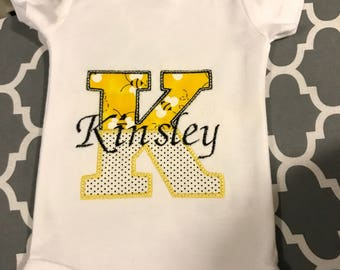 Personalized Onesie with Name and Initial-Embroidered  Onesie-Baby Girl-Baby Boy-Toddler Girl-Toddler Boy Personalized-Applique Shirt