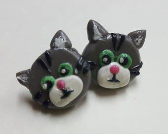 Grey Cat Earrings