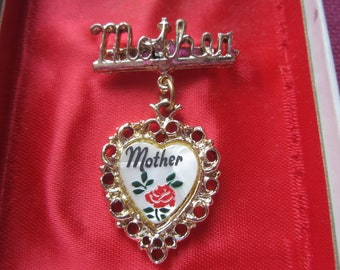 Vintage Mothers Pin, Mothers Day gift, mother jewelry, small pin, hand painted heart pin,tiny vintage pin,new in box jewelry,roses jewelry