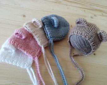 NEW, Newborn Bear Hat, Newborn Hat, Newborn Hat Girl, Newborn Hat Boy, Newborn Photo Prop, Knit Newborn Hat, Newborn Bear, Newborn Outfit