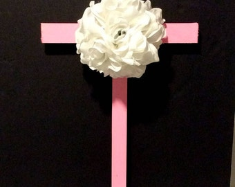 Wooden Cross, Roadside Memorial Flowers, Grave Flowers, Cemetery And Funeral, Pink Cross