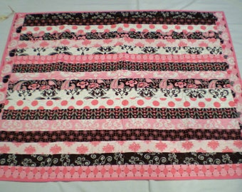 Pink and Brown Baby Girl Quilt