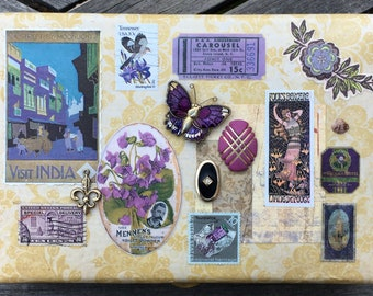 Study in Purple Victorian Fantasy Embellished Vintage Jewelry Box