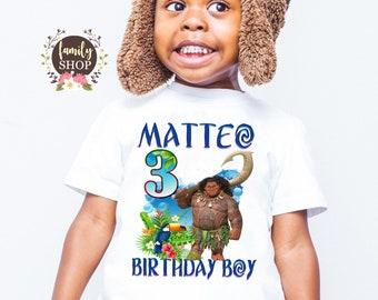 Maui Birthday Shirt, Birthday Boy shirt, Maui name age, Matching birthday, Personalized shirt, Custom Moana shirt, Maui family tees B 171