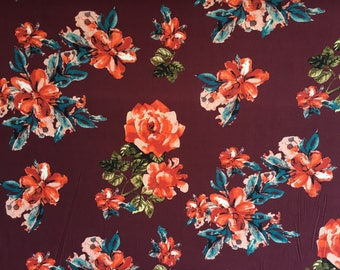 Wine Double Brushed Poly Floral Print By The Yard 60'