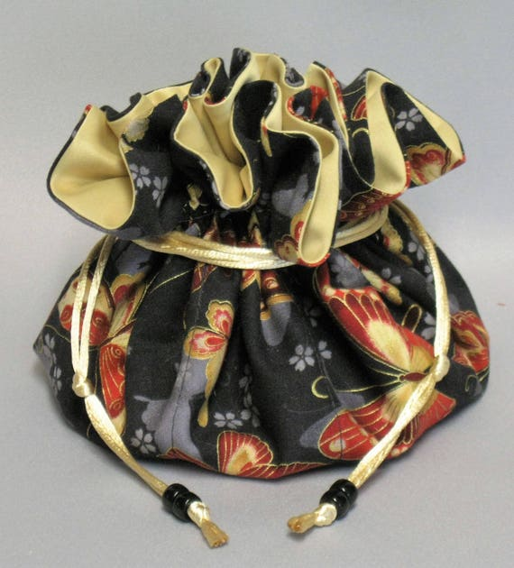 Jewelry Travel Tote---Drawstring Organizer Pouch--Butterfly Design---Large Size