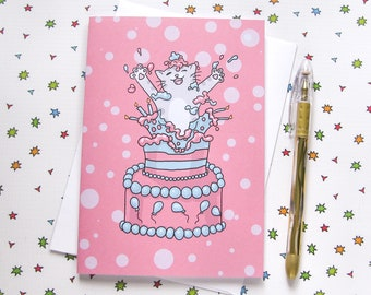 Birthday Cake Cute Cat Any Occasion Card Birthday Card Cute Greeting Card Kitty Present Gift Funny Humor Pink