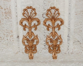 Ornate Homco Wall Sconces Candle Holders Gold Sconces Wall Decor ON SALE