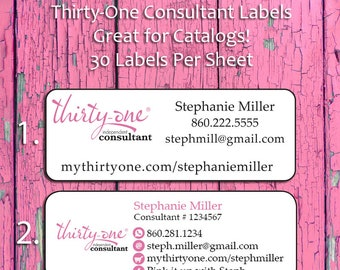 THIRTY ONE CATALOG Labels Personalized, Thirty-One Catalog or Address Labels, Home Parties, Sets of 30