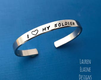 I Love My Soldier- Hand Stamped Bracelet- Army Marines Navy Air Force- In Aluminum, Copper, Brass, Sterling Silver