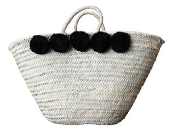 Basket Bag Pompoms Black
