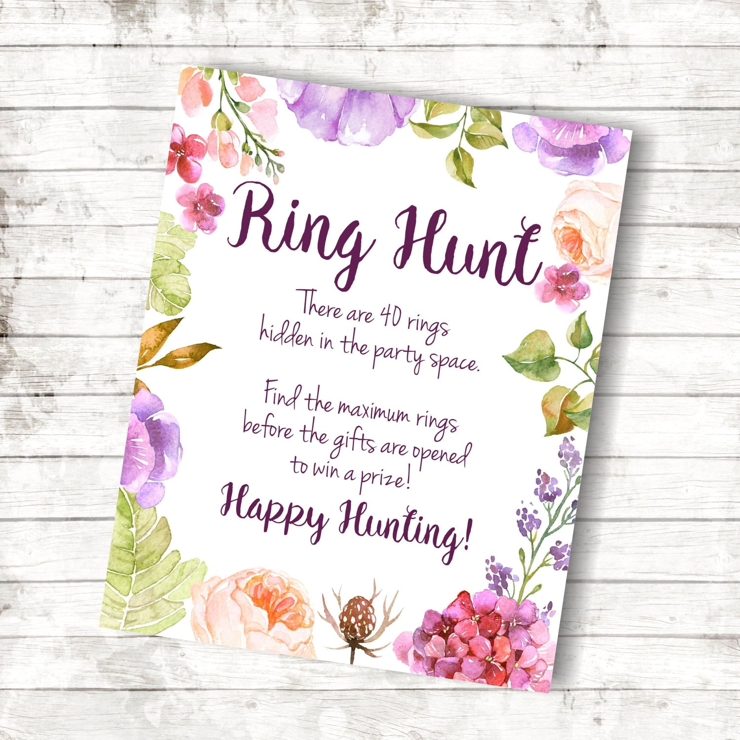 Engagement Party Games: Ring Hunt Printable Bachelorette Party Games Floral Bridal