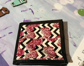 Bi-fold Chevon Roses with black trim Duct Tape Wallet