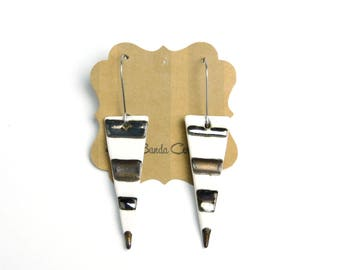 Stripe dangle earrings, white, metallic, and bronze, hypoallergenic ear wires