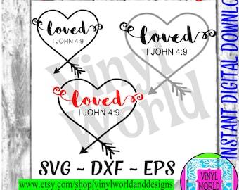 Loved Heart Arrow SVG, Valentine Cut File, Cricut file, Silhouette file, svg, DXF, EPS, png, studio, iron on, cut designs, prints