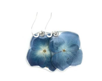 Gardener Gift, Nature Lover, pressed flower, woodland jewelry, Botanical jewelry, real blue hydrangea earrings and or pendant