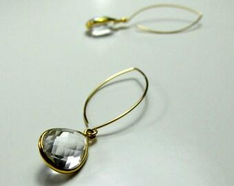 White Topaz, 14k Gold Filled Earrings