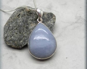 Blue Lace Agate Necklace, Stone Jewelry, Sterling Silver, Gemstone Jewelry, Natural Stone Pendant, Graduation Gift for Her