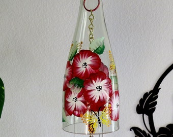 Glass Wind Chime, Recycled wine bottle wind chime, Flowers, Sun catcher, Red and white flowers, yard art, butterflies, Lady bug beads