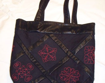 Red Work Embroidered Tote