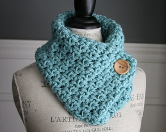 AQUA Blue Cowl Neck Scarf with wooden button, crocheted