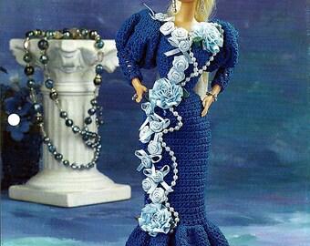"Gracious Gown 11 1/2"" Doll Crochet Pattern Annies Fashion Doll Crochet Club FC36-01"