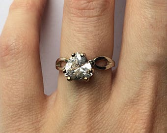 Beautiful trillion cut genuine Herkimer Diamond quartz crystal ring