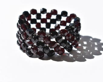 Black Stretch Bracelet. Black Tie Affair. Evening Attire. Garnet Bead Bracelet. Handmade Accessory. Bridesmaid Gift. Gift For Her. Under 50.