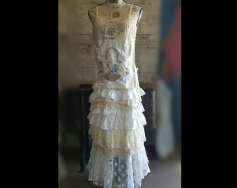 Pink Sunshine Shabby cowgirl country girl asymmetric floral peasant country ruffled Boho maxi slip ruffled eyelet lace Dress S M