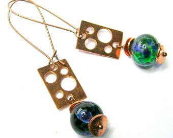 Copper/Blue/Green Art Bead Earrings - Handmade Earrings - Copper Jewelry - Long Drop Earrings