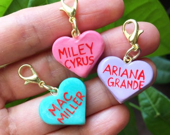 Personalized sweetheart charm, Valentine's Day, polymer clay charms