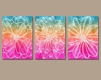 WATERCOLOR Flower Art, Watercolor Wall Art, CANVAS or Print, Rainbow Flower, Abstract Wall Hanging, Bedroom Art, Bathroom Decor Set of 3