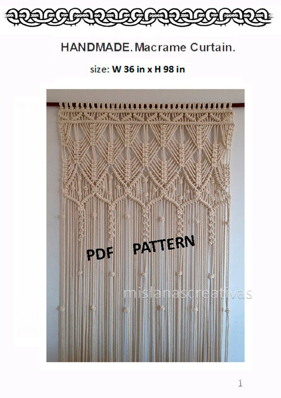 Beautiful Macrame Curtains Part - 7: PDF Instructions Macrame Curtain. HANDMADE.Macrame Wall
