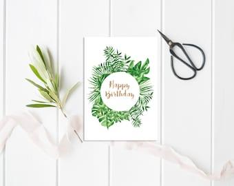 Tropical Birthday Card, Illustrated birthday card, Illustrated Greeting Card, Stationery, Handmade card, Birthday, Illustrated card Tropical