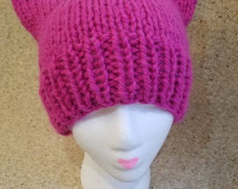 Chunky Pink Cat Hat in Alpaca Wool Blend