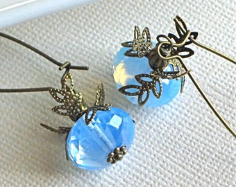 Blue Earrings - Opal Czech Glass, Brass