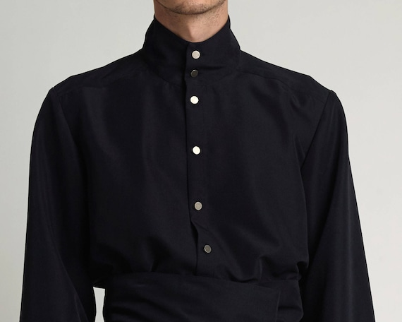 Mens shirt Mens Silk shirt Mens Black shirt Mens dress shirt