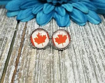 Maple Leaf Earrings, Maple Leaf Studs, Canada Studs, Canada Flag Studs, Canada Flag, Canada,  Earrings, Earrings, Studs, Hypoallergenic