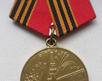 "Soviet medal. Military medal. USSR military medal.  ""50 years of victory with Germany""."
