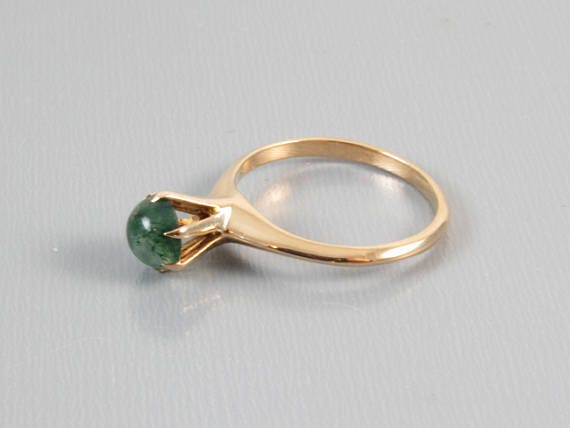 Edwardian rose gold mossy agate, green moss agate, solitaire signed H. Hailparn & Co / size 6