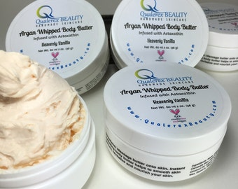 Organic Vegan Argan Whipped Body Butter with Astaxanthin | Quick Absorbing Non-Greasy Formulation | Heavenly Vanilla | Cruelty Free Skincare