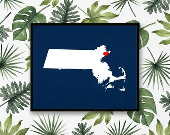 Massachusetts State Custom Personalized Heart Print I Love Massachusetts USA Hometown Wall Art Listing