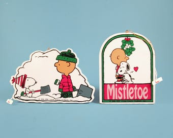 Two Vintage PEANUTS Wood Christmas Ornaments, SILVESTRI, Charlie Brown, Snoopy 1990, hard to find