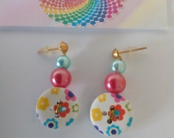button earrings hippy colorful flowers design