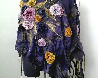 """Nuno felted  varicolored scarf shawl poncho felting wool luxury floral romantic tippet stole with roses """"Blues autumn colors"""""""