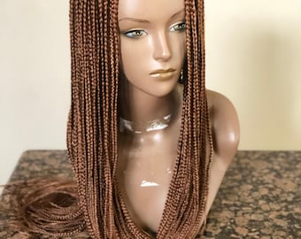 Braided handmade cornrows wig with box braids.This is color 33.  This particular wig is READY TO SHIP.